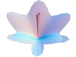 Scale relativity - Fig. 2. Schrödinger's flower. Morphogenesis of a flower-like structure, solution of a growth process equation that takes the form of a Schrödinger equation under fractal conditions. For more details, see: Nottale 2007.