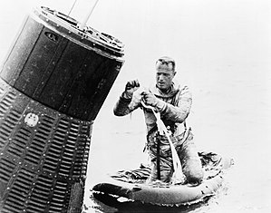 Scott Carpenter - Carpenter in a water egress training exercise before his Mercury-Atlas 7 mission