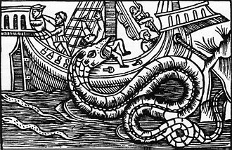 Sea serpent - A sea serpent from Olaus Magnus's book History of the Northern Peoples (1555).