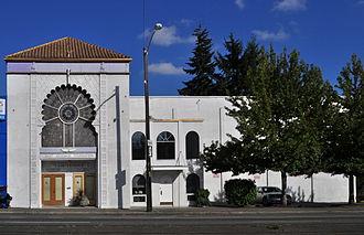 "Saint Germain Foundation - Saint Germain Foundation ""I Am"" Temple, Seattle, Washington. The building is a former cinema on Aurora Avenue North."