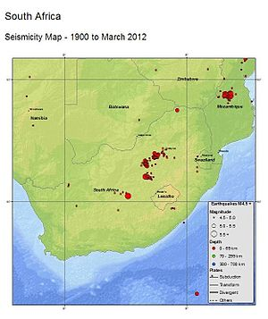2014 Orkney earthquake - USGS seismicity map for South Africa