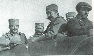 Battle of Kumanovo - The staff of 1. Armija. On the left side is the army commander, Crown Prince Alexander, the army chief of staff, Colonel Petar Bojović, is sitting next to him.