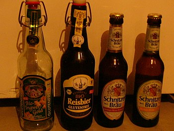 Several gluten-free beers from Germany. Españo...