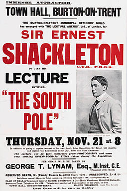 Shackleton embarked on an extensive lecture tour in which he talked not only about his own polar journeys but also those of Scott and Roald Amundsen Shackleton-tour.jpg