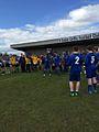Shawni Dowdall and John Gallagher lifting the u-17's Dundalk League trophy.jpg