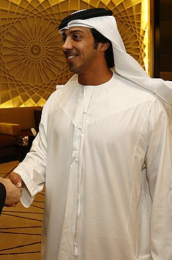 Sheikh Mansour shaking the hand of Michael Spindelegger (crop).jpg