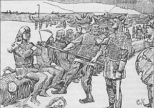 Eiríkr Hákonarson - Sigurðr Búason is spared by Eiríkr Hákonarson after the Battle of Hjörungavágr  illustration by Christian Krohg