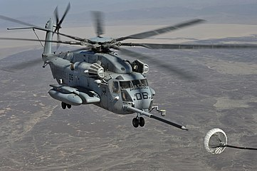 CH-53E helicopter refueling in flight