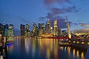 Singapore CBD skyline from Esplanade at dusk