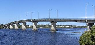 Myall River - Singing Bridge across the Myall River at Tea Gardens/Hawks Nest.