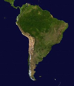 Satellietbeeld van suid-amerika