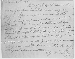 Handwritten receipt for slave
