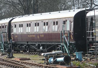 London, Midland and Scottish Railway -  An LMS sleeping car in the standard maroon livery
