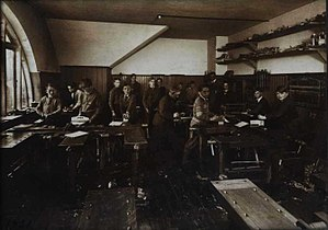 Sloyd - Woodwork room for teaching sloyd in Denmark, 1931