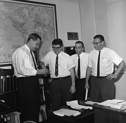 Donald Henderson as part of the CDC's smallpox eradication team in 1966. Smallpox eradication team.jpg
