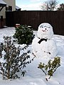 Smiling snowman in garden by junction of Norwich Road-The Ramblers - geograph.org.uk - 1655319.jpg