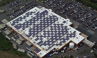 Walmart - Solar modules mounted on a Walmart Supercenter in Caguas, Puerto Rico in December 2010