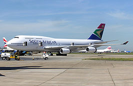 Een Boeing 747-400 van South African Airways