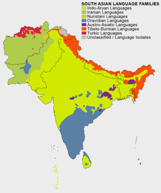 Language families of South Asia, with Tibeto-Burman in orange South Asian Language Families.png