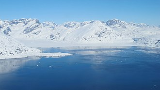 King Frederick VI Coast - A fjord in southeast Greenland seen from the NASA P-3B during an IceBridge glacier survey.