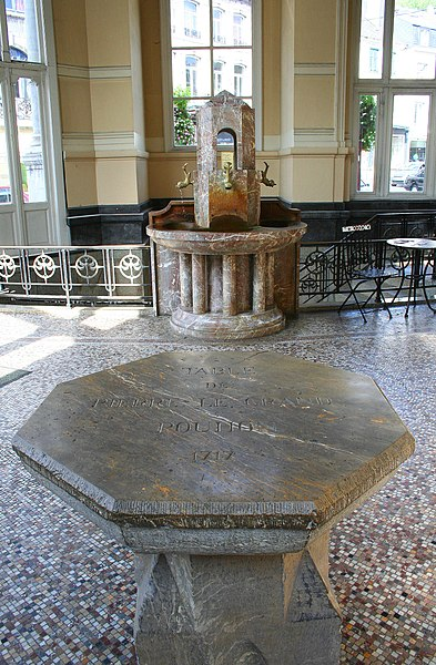 Spa  (Belgium), Peter the Great's table and internal fountains of the Tzar Peter the Great's « Pouhon » (spring).