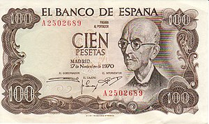 Manuel de Falla - Composer Manuel de Falla as depicted on a former currency note issued in Spain in 1970