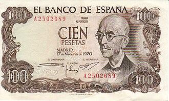 Manuel de Falla - Composer Manuel de Falla as depicted on a former currency note issued in Spain in 1970