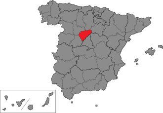 Segovia (Congress of Deputies constituency) - Location of Segovia within Spain