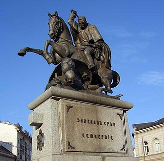 Bijeljina - Petar Karađorđević I monument. He was the King of Serbia from 1903–18.