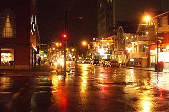 Spring Garden Road, Halifax - Spring Garden Road and South Park Street on a rainy night.