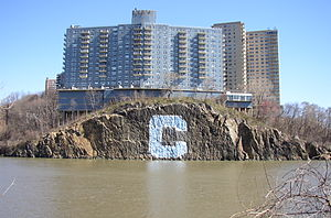 "Inwood, Manhattan - The Columbia ""C"" from the Spuyten Duyvil Creek"