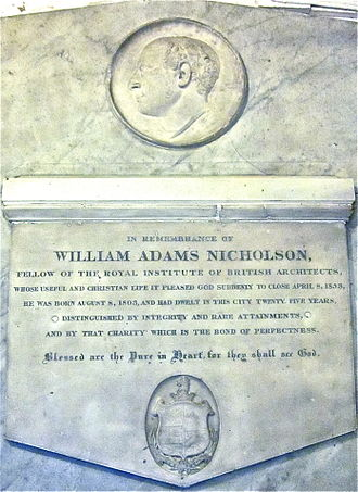 William Adams Nicholson - Memorial to W. A. Nicholson in St Benedict's Church, Lincoln