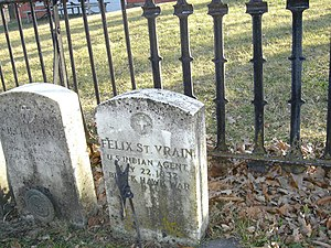 British Band - The grave of Felix St. Vrain, killed by Ho-Chunk warriors intent on joining the British Band in 1832.