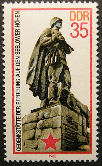 Seelow Heights - A DDR stamp showing the Soviet memorial statue at the Seelow Heights.