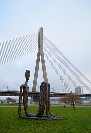 Vanšu Bridge - Image: Statue and Vanšu bridge (8230192362)