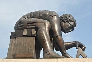 <i>Newton</i> (Paolozzi) sculpture by Eduardo Paolozzi in the British Library, London