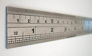 closeup of a steel ruler