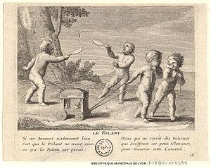 Claudine Bouzonnet-Stella - Le Volant, a plate from Les jeux et plaisirs  de l'enfance, engraved by Claudine Bouzonnet-Stella after Jacques Stella.
