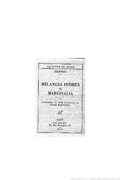 File:Stendhal - Mélanges intimes et Marginalia, II, 1936, éd. Martineau.djvu