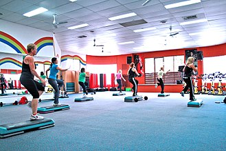 Aerobics - Step aerobics in a gym