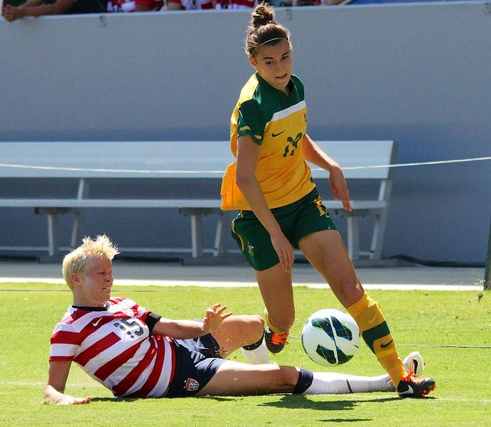 Steph Catley playing against USWNT 2012