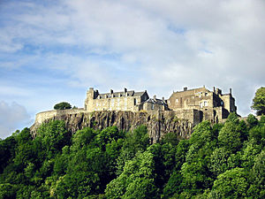 Stirling Castle has stood for centuries atop a volcanic crag defending the lowest ford of the River Forth.  The fortification underwent numerous sieges.