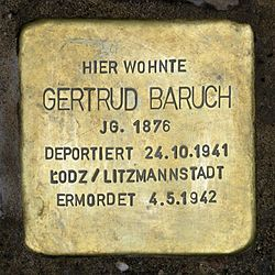 Photo of Gertrud Baruch brass plaque