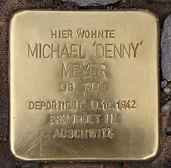 Photo of Michael 'Denny' Meyer brass plaque