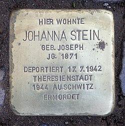 Photo of Johanna Stein brass plaque