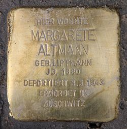 Photo of Margarete Altmann brass plaque