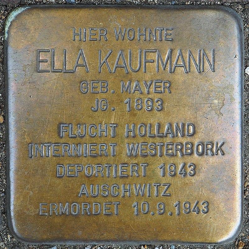 Stolperstein Geldern Hartstraße 2 Ella Kaufmann