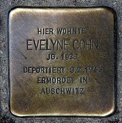 Photo of Evelyne Cohn brass plaque