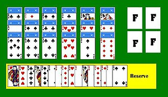 Stonewall (solitaire) - The initial layout of a game of Stonewall.