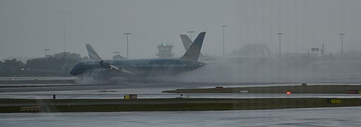 Stopping in the rain at Sydney ariport